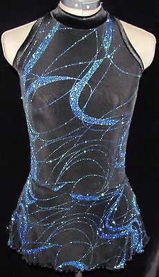 BLACK AND BLUE SPARKLE Ice Skating Dress / LADIES ADULT SMALL
