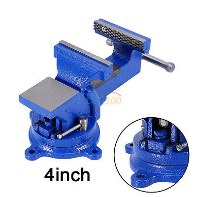 "4"" 100mm Work Shop Bench Vice Vise Clamp Engineer Jaw Swivel Base Cast Iron Tool"