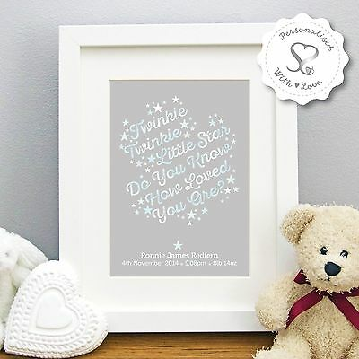 Personalised Christening New Baby Birth Twinkle Twinkle Print or Framed Gift