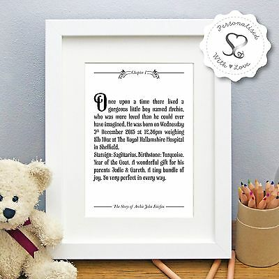 Personalised New Baby Birth Christening Once Upon a Time Print/Framed Print Gift