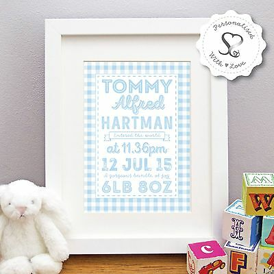Personalised New Baby Birth Stats Christening Gingham Print/Framed Print Gift