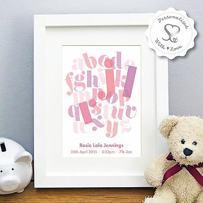 Personalised New Baby Birth Stats Christening Alphabet ABC Print or Framed Gift