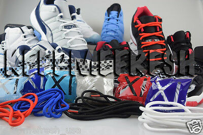 Jordan 11 Replacement Shoelaces Rope Bred Low Lace Round White Concord Black  Xi