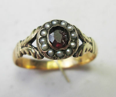 Antique Georgian 9ct Gold, Natural Seed Pearl & Garnet Ring Size N