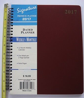 2017 Weekly Monthly Dated Day Planner Calendar Appointment Book BURGUNDY 8X10