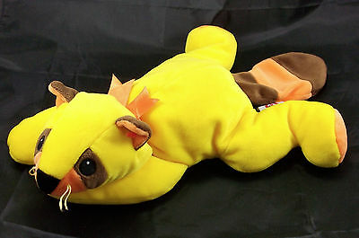TY Pillow Pals Rusty Yellow Orange Brown Raccoon 1998 Plush Stuffed Animal 14""