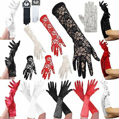 Ladies Womens Satin Gloves Wedding Bridal Maid Prom Hen Night Fancy Party Dress