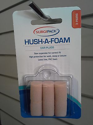 =>3 x SURGIPACK SURGI PACK HUSH-A-FOAM EAR PLUGS 3 PAIRS (9 pairs total)