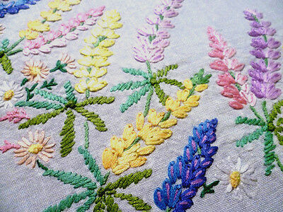"""STUNNING Lupin Circle ~ Vintage Heavily Hand Embroidered Tablecloth ~41"""" x 42"""""""