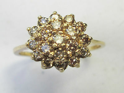 Vintage 9ct Gold 1.00 Carat Champagne Diamond Tiered Cluster Engagement Ring