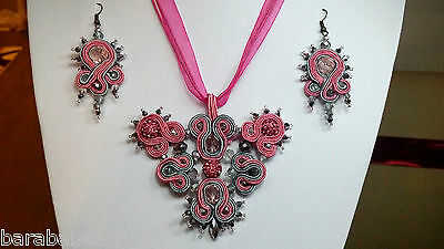 Handmade soutache necklace and earrings with swarovski crystals (pink and grey)