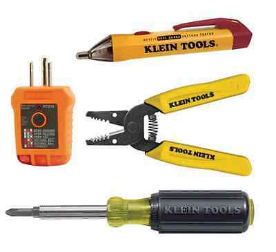 New Klein Tools 4-Piece Set Outlet Switch Installation Home Electrician Tool Kit