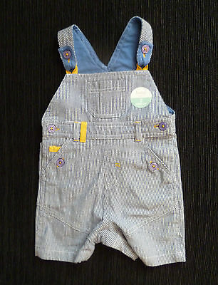 Baby clothes BOY 6-9m NEW! blue/white stripe short dungarees,yellow/mauve detail