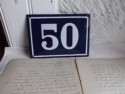 "French authentic vintage sign number plate blue & white porcelain enamel ""50"""