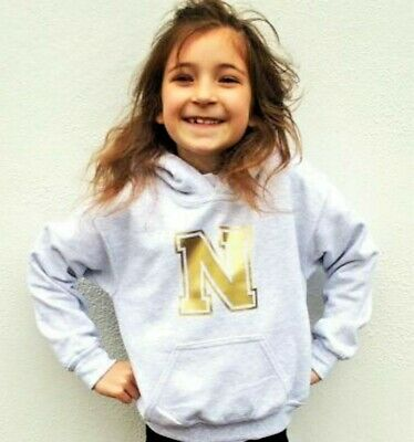 Personalised Gold Initial Kids Hoodie boys/l top  Ages 3 - 12- College print