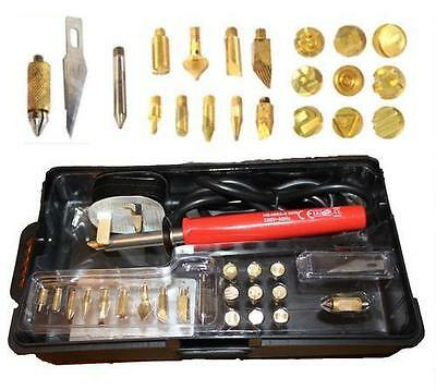 30W Wood Burning Pen Soldering Set Pyrography Tool Kit With Tips + Stand 69423