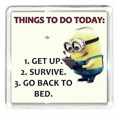 Minion Character Daily Today's Task List Get Up Survive Back Bed Fridge Magnet