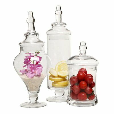 Designer Clear Glass Apothecary Jars (3 Piece Set) Decorative Weddings Candy Buf