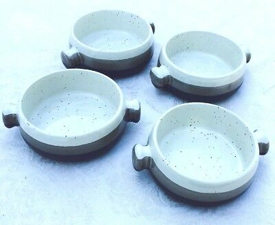 Set Of 2 Stoneware Soup Side Bowls With Handle In Blue Green Or