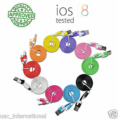 iphone USB Data Sync Charger Flat Cable 1M/2M/3M for iphone 5/5C/5S/6/6 plus/7