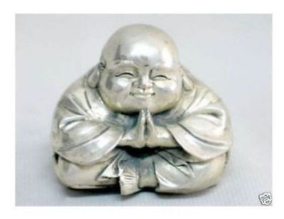 New Chinese tibet silver carved happy buddha figurine AA3