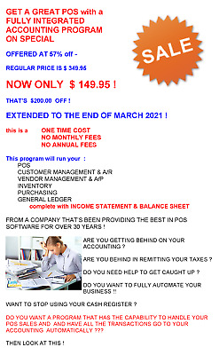 Pos Software System + Full Acounting Backend -  Discounted $100.00  Only $249.95