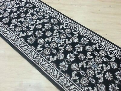 Black Runner, Hallway Rug, Traditional Pattern (80cm Width), *Assorted lengths*