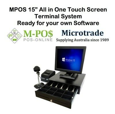 "15"" POS All in One Terminal, Printer, Scanner & cash drawer.  Complete Hardware."