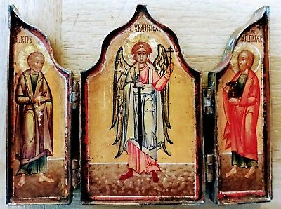 Antique Russian Hand Painted Bronze Icon Tryptix Guardian Angel & Peter And Paul