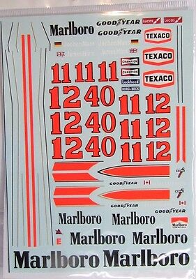 1/20 McLaren M23 Tobacco Sponsor Decal for Tamiya (Mc Laren) James Hunt Rush
