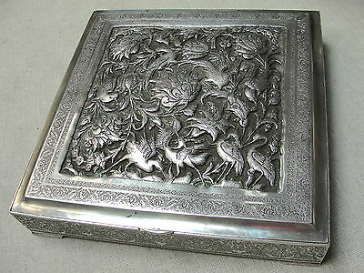 Antique Large Solid Silver Engraved Highly Detailed Filigree Persian Box