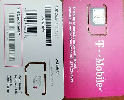 NEW TMobile SIM 4G LTE OEM NANO Sim Card TRIPLE CUT SIM 3 IN 1. REPLACEMENT SIM