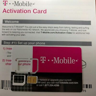 NEW TMobile Prepaid Activation kit, T-Mobile 4G LTE Micro Sim , Newest sku#R043