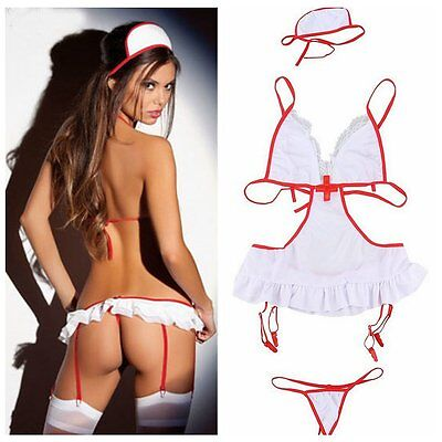 Nurse Doctor Uniform Costume Sexy Womens Lingerie Outfit Cosplay Fancy Dress Set