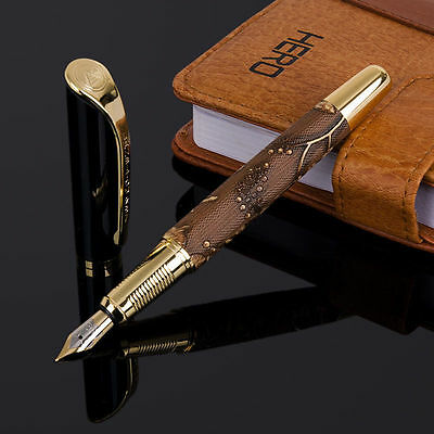 Executive Italian Leather & 23Kt Gold Fountain Pen New College Boss Teacher Gift