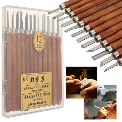 12pcs Wood Carving Hand Chisel Tool Set Woodworking Professional Gouges + Box