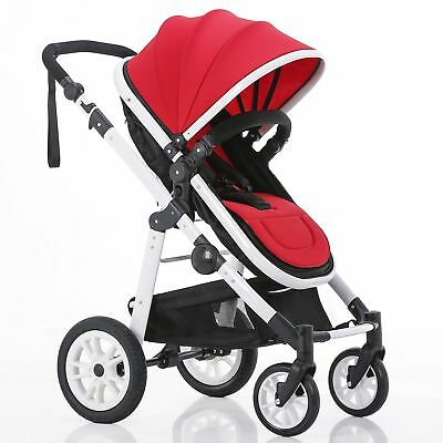 New Baby Toddler Kids Pram Stroller Jogger Reversible Aluminium With Bassinet