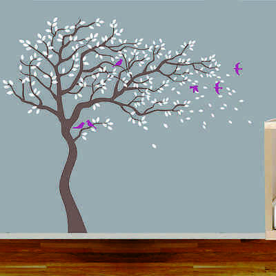 Blowing Tree Birds Removable Wall Stickers Wall Decals Baby Kids Art Decor DIY