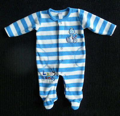 Baby clothes BOY 0-3m blue/white stripe soft fleec dinosaur sleepsuit SEE SHOP!
