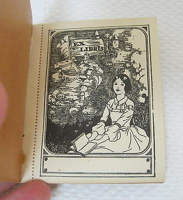 Vintage Book Plates 1930's Girl Sitting Reading Castle Knight on Horse Back  T64