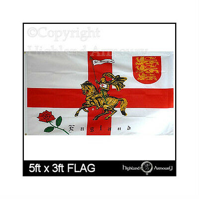 5' x 3' FLAG Rose Lion England English St George Cross Charger 3 Lions Flags new