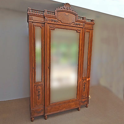 Antique French Armoire, Stunning Original 19thC Mirrored Linen Press, Louis XVI