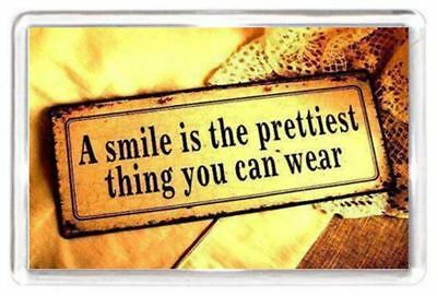 Face Smile Grin Pretty Wear Show Quote Saying Gift Present Fridge Magnet Novelty