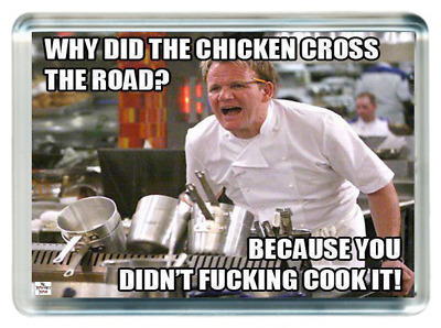 Chicken Cross the Road Chef Cook Food Kitchen Pot Saying Gift Fridge Magnet