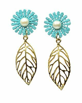 Women's unique handmade earrings from The Silvestre Collection.  Sky Blue Color.
