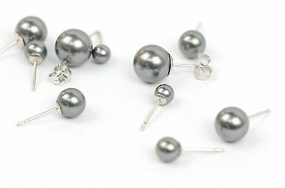 925 Solid Sterling Silver Beautiful Classic Pearls Stud Earrings