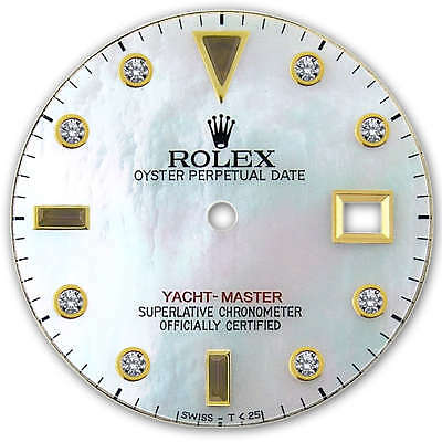 Rolex Yacht Master 2 Tone Yellow Gold White MOP Serti Diamond + Ruby Dial