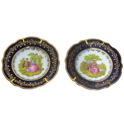 """Limoges china pair cobalt blue porcelain Plates w. mounting """"love story"""" pattern"""