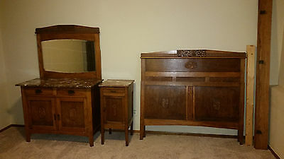 Antique French Late 1800's to Early 1900's Complete Oak with Marble Bedroom Set