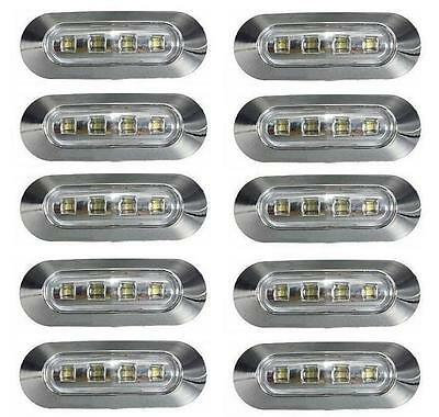10x LED White Side Marker light 24V for Lorry Bus Truck Volvo DAF Iveco Chrome